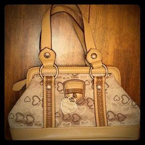 XOXO cute Handbag hearts Tan Fake leather